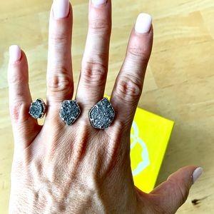 Kendra Scott Naomi silver drusy ring like new